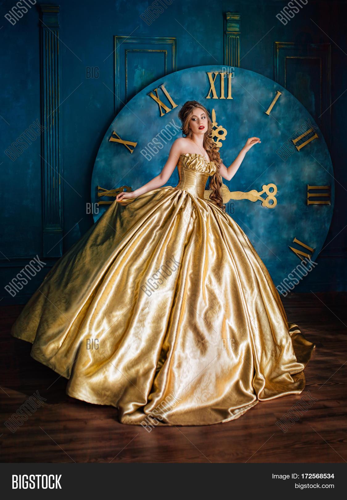Beautiful Woman Golden Ball Gown Image & Photo | Bigstock