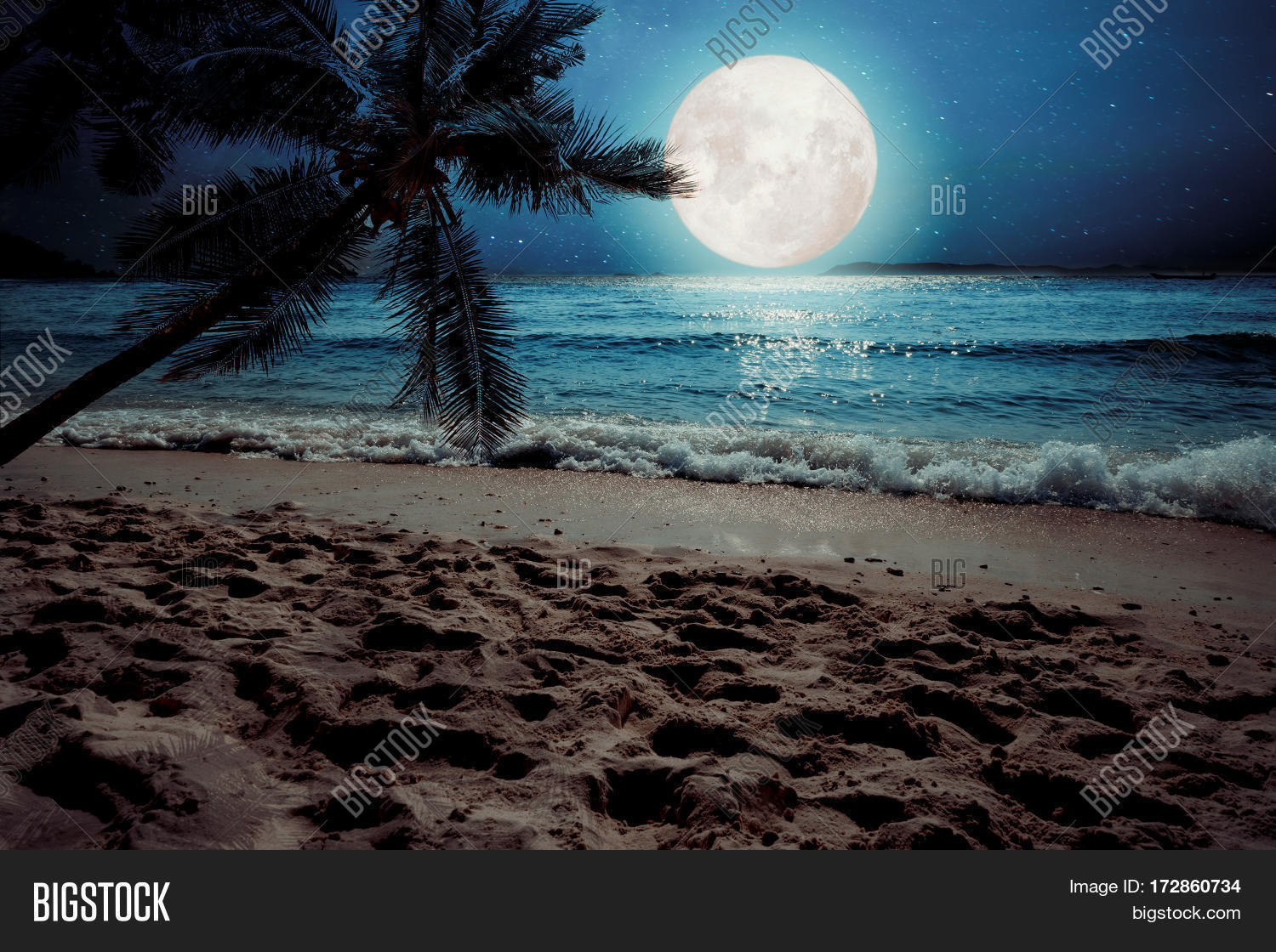 Beautiful Fantasy Tropical Beach With Star And Full Moon In Night Skies Seascape
