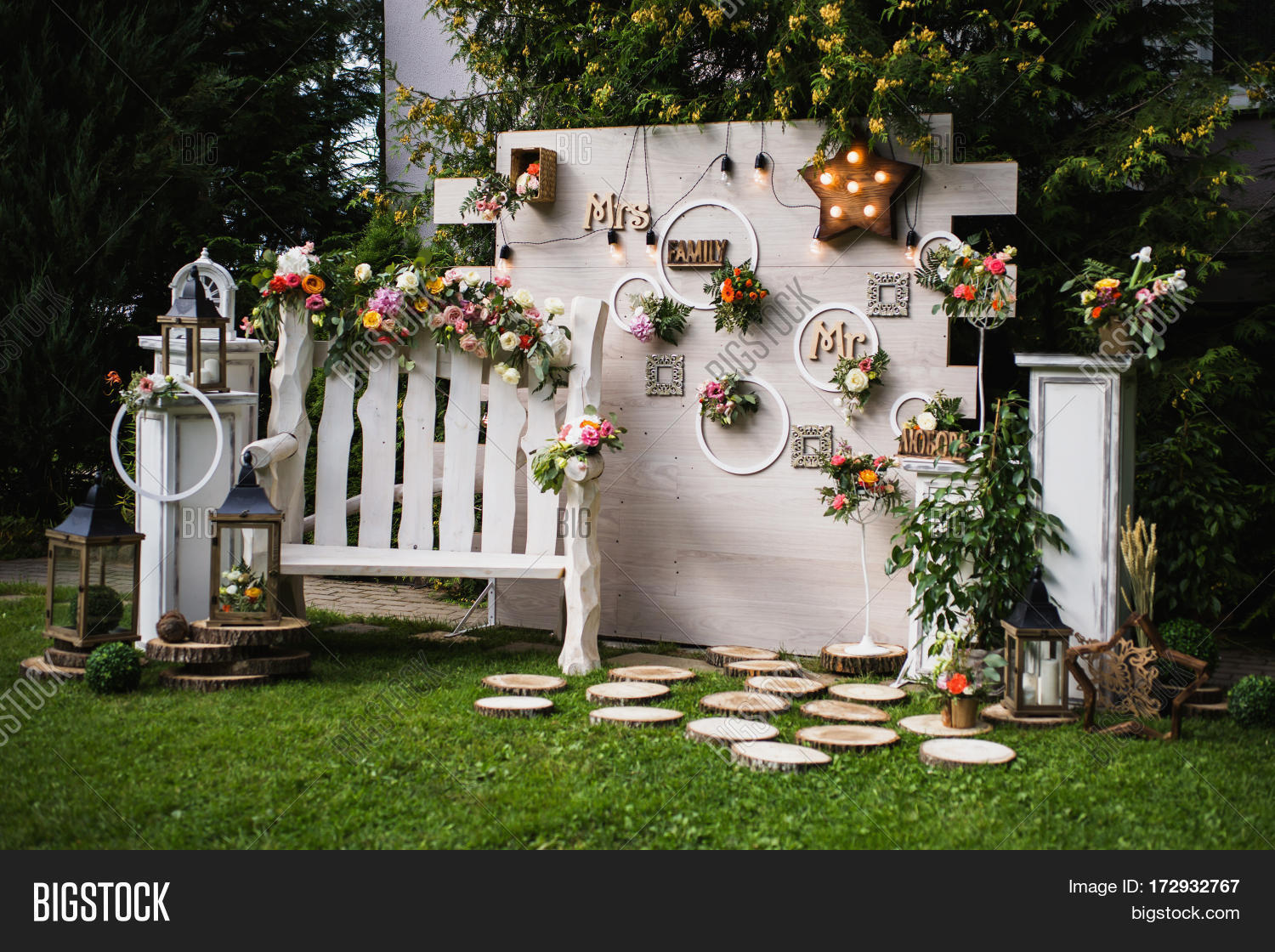 Wedding party image photo free trial bigstock wedding party beautiful unusual wedding decor rustic style bench wall of flowers lanterns junglespirit Image collections