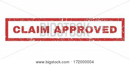 Claim Approved text rubber seal stamp watermark. Caption inside rectangular banner with grunge design and unclean texture. Horizontal vector red ink sticker on a white background.