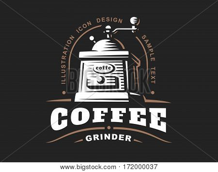 Coffee grinder logo - vector illustration, emblem design on black background