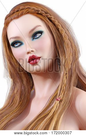 Portrait beautiful young girl with blue eyes and red lips. Soft skin. Blonde hair. Bright makeup. Photorealistic 3D render illustration. Isolate. High key photo.