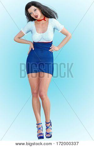 Beautiful girl Stewardess. Short white and blue dress. Conceptual fashion art. Blue eyes. Seductive candid pose. Photorealistic 3D render illustration. Studio, high key.