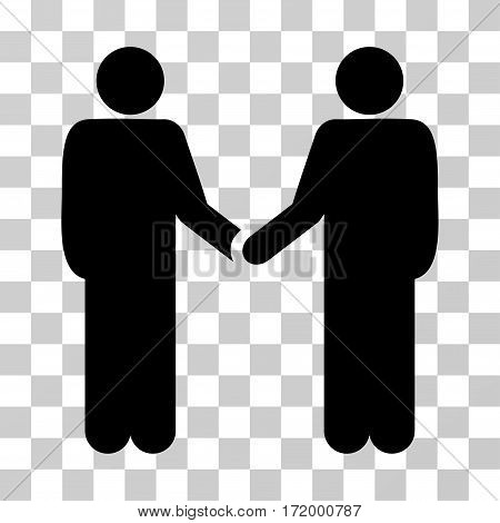 Persons Handshake vector pictogram. Illustration style is a flat iconic black symbol on a transparent background.