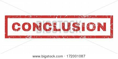 Conclusion text rubber seal stamp watermark. Tag inside rectangular banner with grunge design and dust texture. Horizontal vector red ink sticker on a white background.