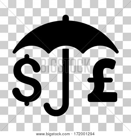 Pound And Dollar Financial Umbrella vector icon. Illustration style is a flat iconic black symbol on a transparent background.