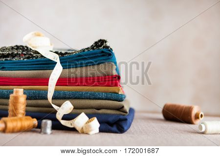 Italian Cloth Suit, Tailoring Tradition, Colorful Fabric And Tailor Accesories