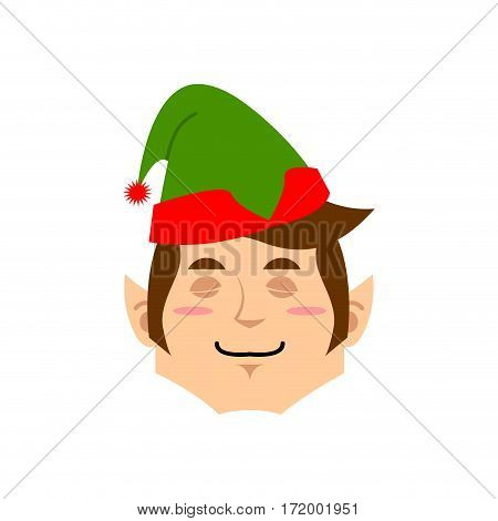Christmas Elf Sleeping Emoji. Santa Helper Asleep Emotion .