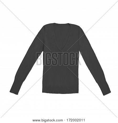 dark grey v-neck pullover, isolated on white background