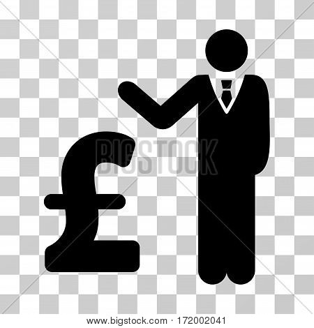 Pound Banker vector pictograph. Illustration style is a flat iconic black symbol on a transparent background.
