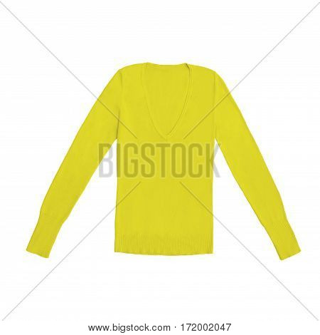 yellow v-neck pullover, isolated on white background
