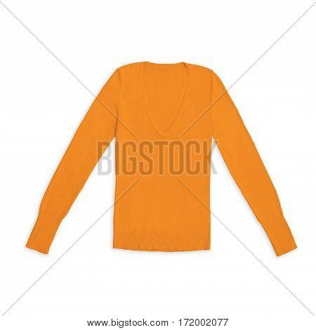 women's orange v-neck pullover, isolated on white background