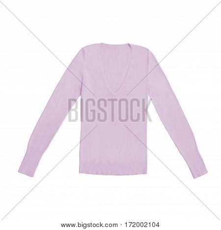 blush pink v-neck pullover isolated on white background