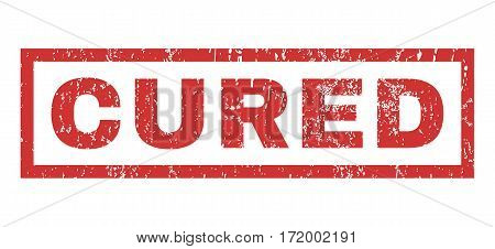 Cured text rubber seal stamp watermark. Caption inside rectangular shape with grunge design and dirty texture. Horizontal vector red ink sign on a white background.