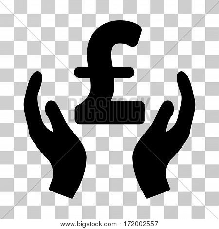 Pound Care Hands vector pictogram. Illustration style is a flat iconic black symbol on a transparent background.