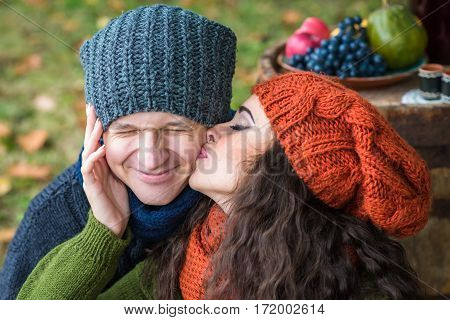 Portrait of couples in the autumn garden