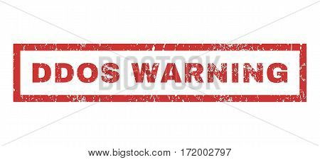 Ddos Warning text rubber seal stamp watermark. Tag inside rectangular banner with grunge design and scratched texture. Horizontal vector red ink sign on a white background.