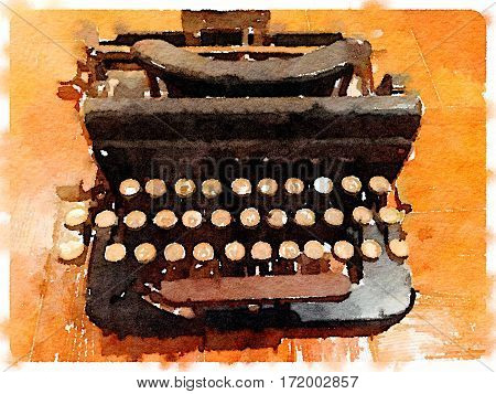 Digital watercolor painting of an old vingage typewriter on a wooden table. With space for text