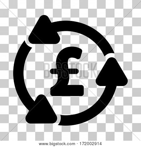 Pound Circulation vector pictogram. Illustration style is a flat iconic black symbol on a transparent background.