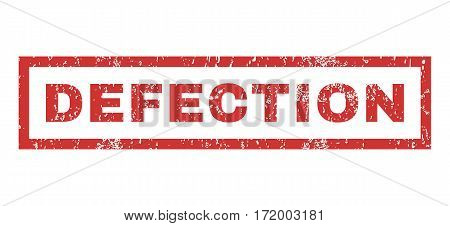 Defection text rubber seal stamp watermark. Tag inside rectangular banner with grunge design and dirty texture. Horizontal vector red ink emblem on a white background.