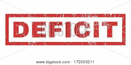 Deficit text rubber seal stamp watermark. Tag inside rectangular banner with grunge design and unclean texture. Horizontal vector red ink sign on a white background.
