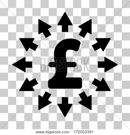 Pound Distribution vector pictogram. Illustration style is a flat iconic black symbol on a transparent background.