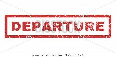 Departure text rubber seal stamp watermark. Caption inside rectangular banner with grunge design and dirty texture. Horizontal vector red ink emblem on a white background.