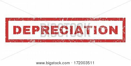 Depreciation text rubber seal stamp watermark. Tag inside rectangular banner with grunge design and unclean texture. Horizontal vector red ink sticker on a white background.