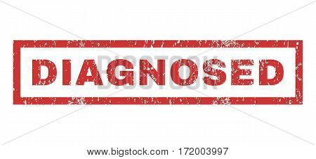 Diagnosed text rubber seal stamp watermark. Tag inside rectangular shape with grunge design and unclean texture. Horizontal vector red ink emblem on a white background.