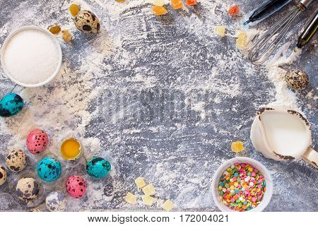 Cooking Recipe Background For The Celebration Of Easter: Quail Eggs, Milk, Sugar, Nuts, Candied Frui