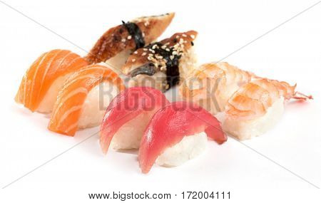 sashimi on white background