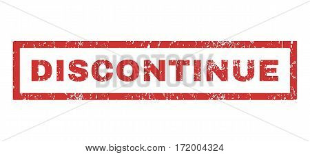 Discontinue text rubber seal stamp watermark. Caption inside rectangular banner with grunge design and unclean texture. Horizontal vector red ink sign on a white background.
