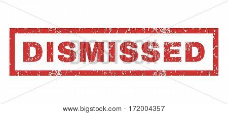 Dismissed text rubber seal stamp watermark. Caption inside rectangular shape with grunge design and unclean texture. Horizontal vector red ink emblem on a white background.