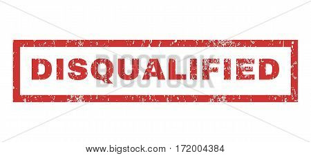 Disqualified text rubber seal stamp watermark. Tag inside rectangular shape with grunge design and unclean texture. Horizontal vector red ink sign on a white background.