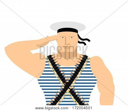 Sailor In Striped Vest And Peakless Cap. February 23 Day Of Fatherland Defenders In Russia. Russian