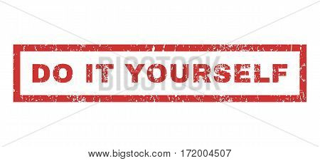 Do It Yourself text rubber seal stamp watermark. Caption inside rectangular banner with grunge design and dust texture. Horizontal vector red ink sign on a white background.
