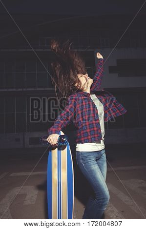 Happy Young Female With Skate