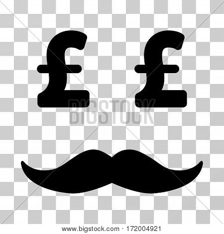 Pound Millionaire Mustache vector pictogram. Illustration style is a flat iconic black symbol on a transparent background.