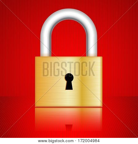 Padlock. Classic golden lock with frontal key hole on red background. Vector illustration