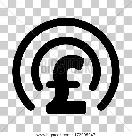 Pound Money Sphere vector icon. Illustration style is a flat iconic black symbol on a transparent background.