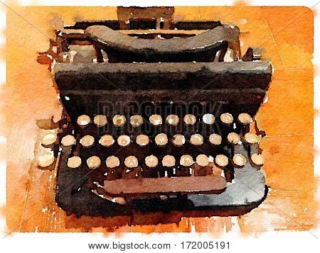 Digital watercolor painting of an old vintage typewriter on a wooden table. With space for text