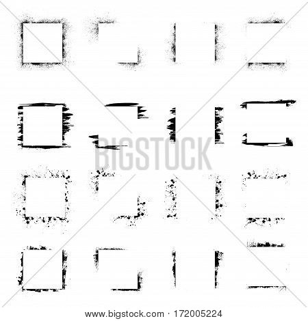Black grunge square frames isolated on white background