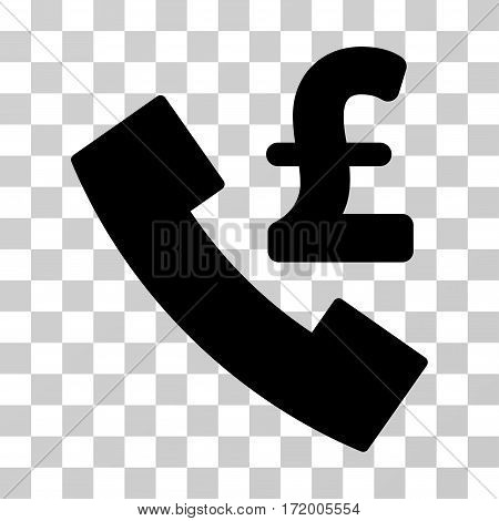 Pound Payphone vector pictogram. Illustration style is a flat iconic black symbol on a transparent background.