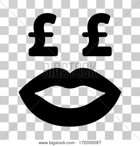 Pound Prostitution Smiley vector pictograph. Illustration style is a flat iconic black symbol on a transparent background.