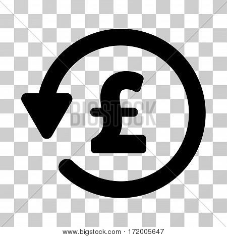 Pound Rebate vector pictogram. Illustration style is a flat iconic black symbol on a transparent background.