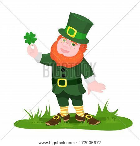 vector illustration gnome standing in the grass holding a clover with four petals and smiling on a white background
