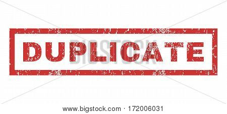 Duplicate text rubber seal stamp watermark. Caption inside rectangular shape with grunge design and dirty texture. Horizontal vector red ink sticker on a white background.