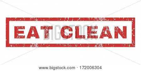 Eat Clean text rubber seal stamp watermark. Tag inside rectangular shape with grunge design and unclean texture. Horizontal vector red ink sticker on a white background.