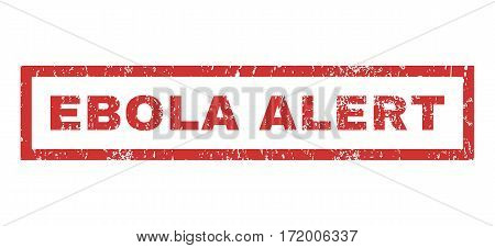 Ebola Alert text rubber seal stamp watermark. Tag inside rectangular shape with grunge design and dust texture. Horizontal vector red ink sticker on a white background.