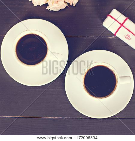 Coffee And Hearts, Card On Valentine's Day, Gift, Flowers